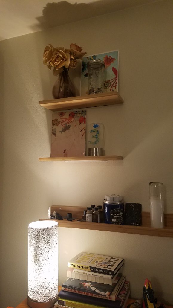bamboo shelves on a wall