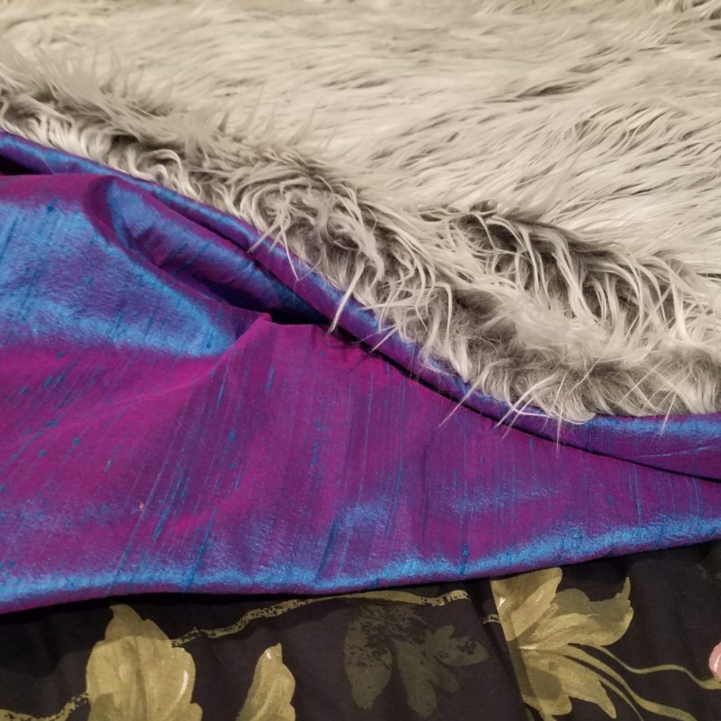 faux fur throw with dupioni silk back